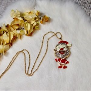 Jewelry - Gold Rhinestone Santa Claus Christmas Necklace